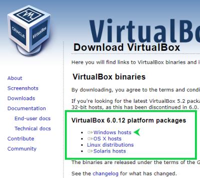 VirtualBox公式サイトの画像